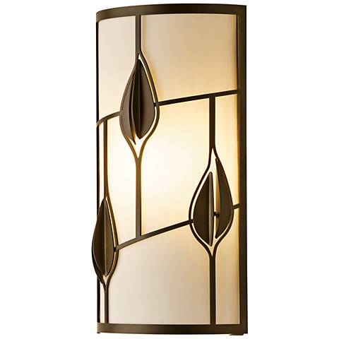 "Alison's Leaves 15 1/4"" High Dark Smoke Wall Sconce"