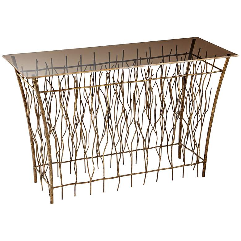 """Brittany Branch 49"""" Wide Antique Gold Console Table"""