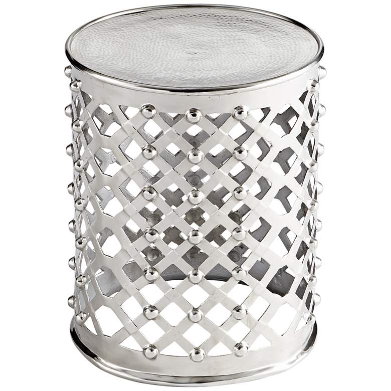 "Alden 17"" Wide Polished Nickel Open-Weave Round Side Table"