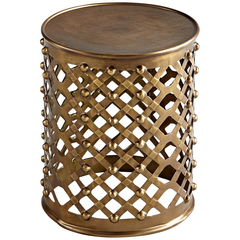 "Alden 17"" Wide Brushed Brass Open-Weave Round Side"