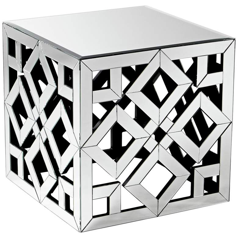 "Gemma 22"" Wide Lattice Mirror-Glass Cube Side Table"