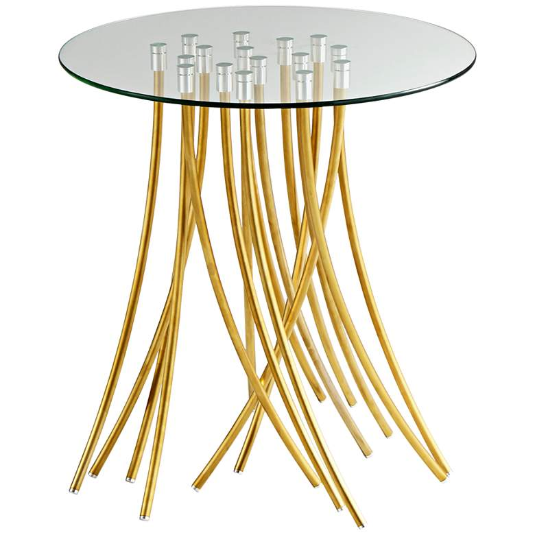 "Tuffoli 24"" Wide Gold Spaghetti Base Modern Accent Table"