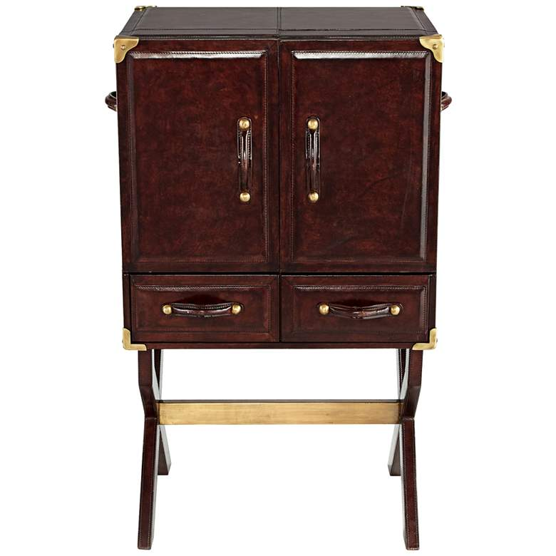 """Hutch 24"""" Wide Chocolate Mahogany Accent Table Cabinet"""
