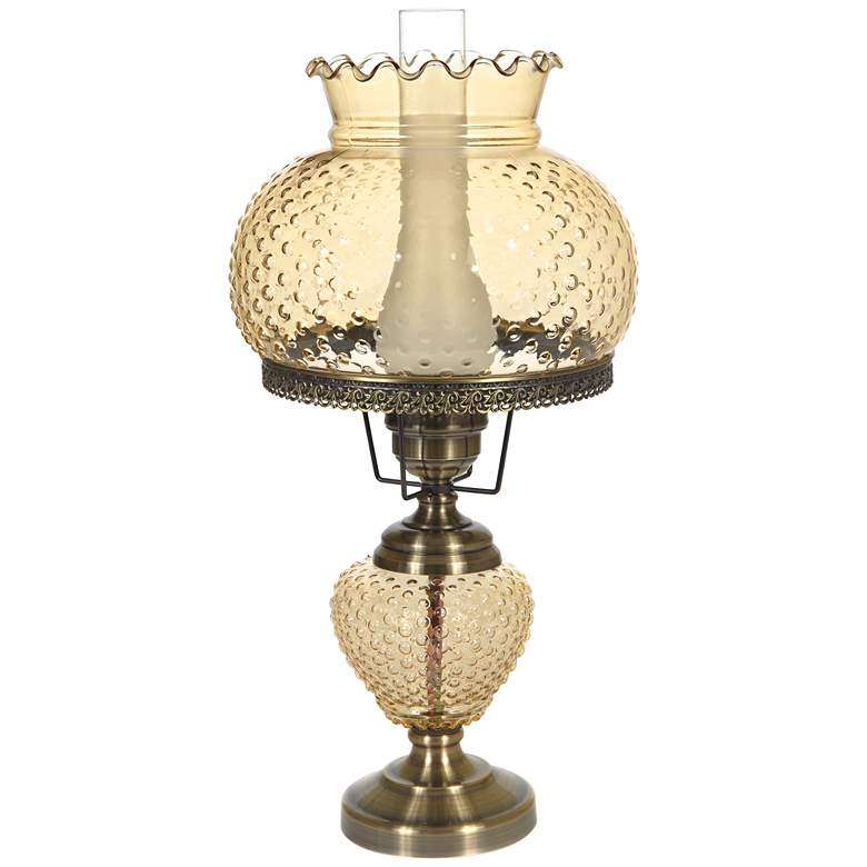 "Amber Hobnail Glass 26"" High Hurricane Table Lamp"