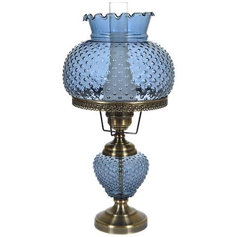 "Blue Hobnail Glass 26"" High Hurricane Table Lamp"