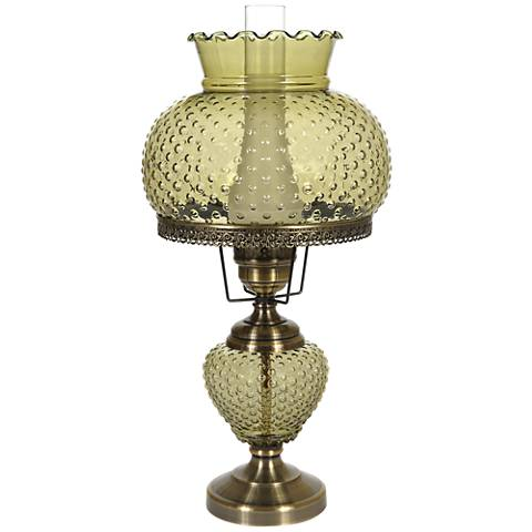 "Green Hobnail Glass 26"" High Hurricane Table Lamp"
