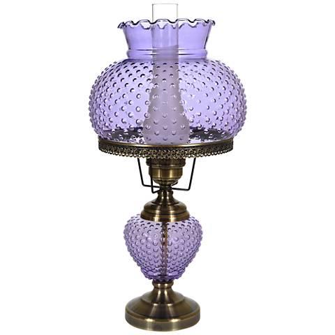 "Violet Hobnail Glass 26"" High Hurricane Table Lamp"