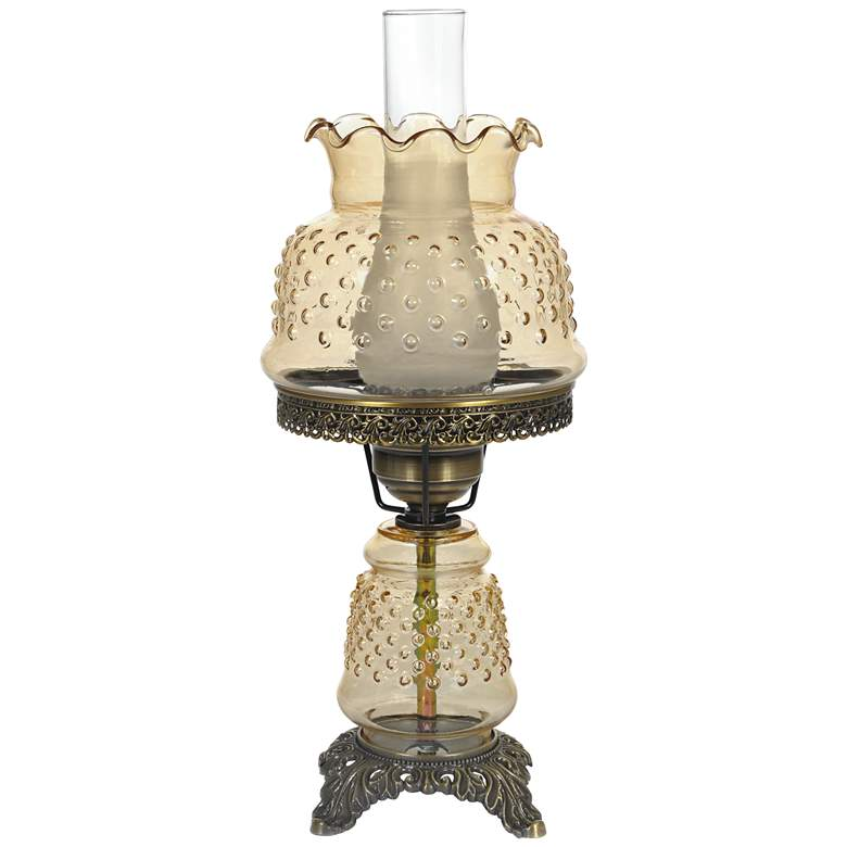 """Amber Hobnail Glass 18 1/2"""" High Hurricane Accent Table Lamp"""