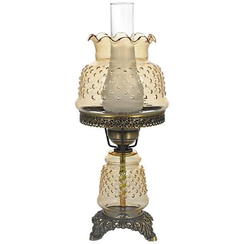 "Amber Hobnail Glass 18 1/2"" High Hurricane Accent Table Lamp"