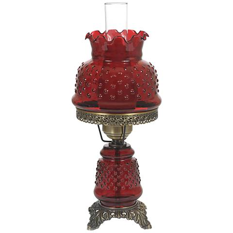 """Cranberry Hobnail Glass 18 1/2"""" High Hurricane Table Lamp"""