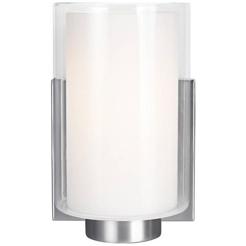 "Feiss Bergin 7 1/2"" High Satin Nickel 1-Light Wall Sconce"