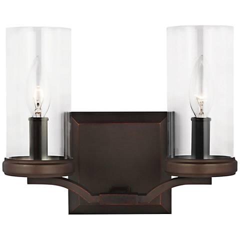 "Feiss Jacksboro 11""W 2-Light Antique Copper Bath Light"