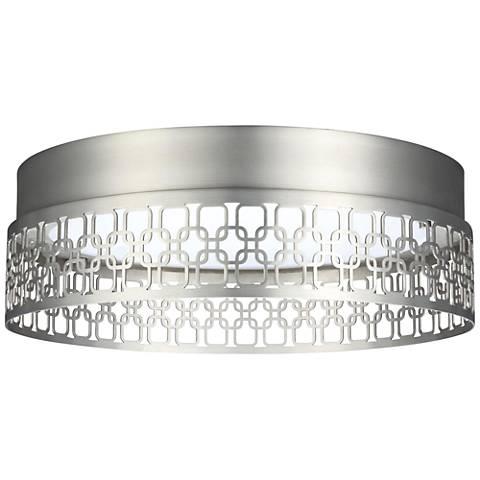 "Feiss Amari Links 13"" Wide Satin Nickel LED Ceiling Light"