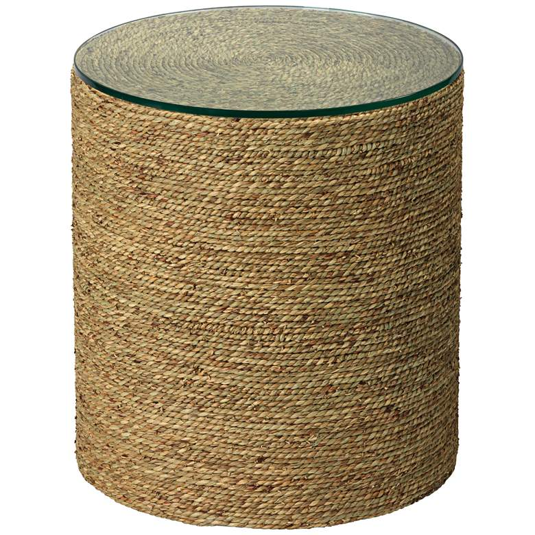 """Harbor 18"""" Wide Natural Seagrass Round Side Table"""