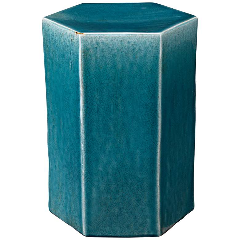 """Jamie Young Porto 15"""" Wide Azure Blue Ceramic Side Table"""