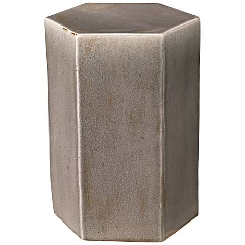 Jamie Young Porto Small Hexagon Gray Ceramic Side Table