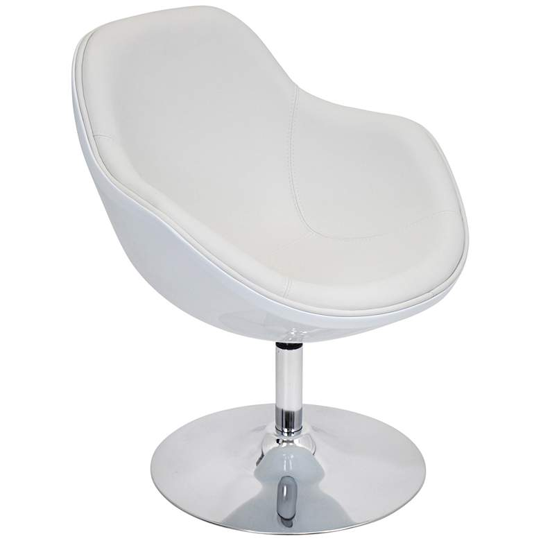 Saddlebrook Shell White Faux Leather Modern Accent Chair