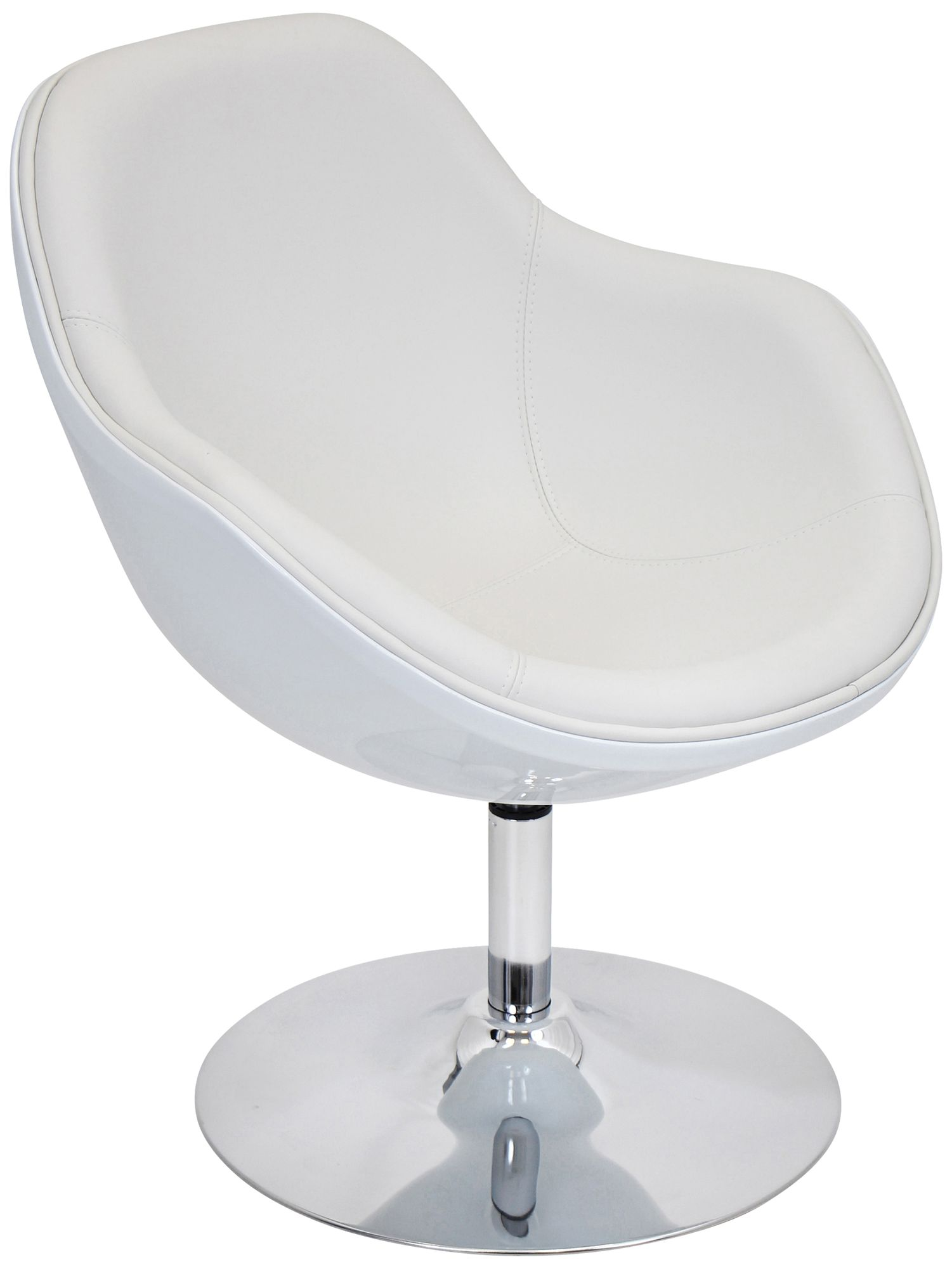 Saddlebrook Shell White Faux Leather Accent Chair