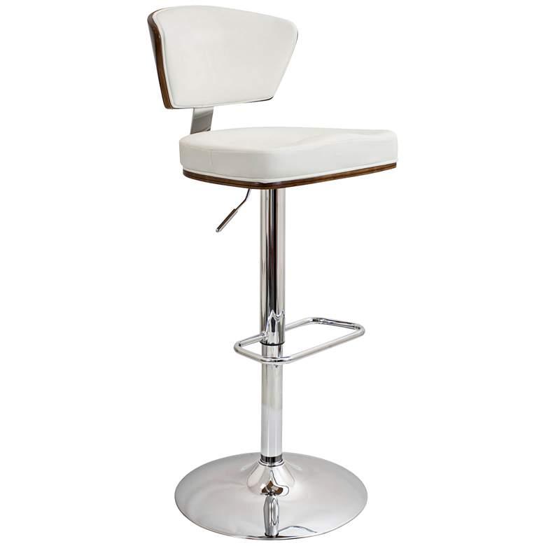 Ravinia White Faux Leather Swivel Seat Adjustable Barstool
