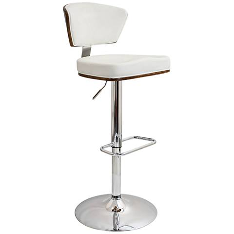 Ravinia White Faux Leather Swivel Seat Adjustable Barstool