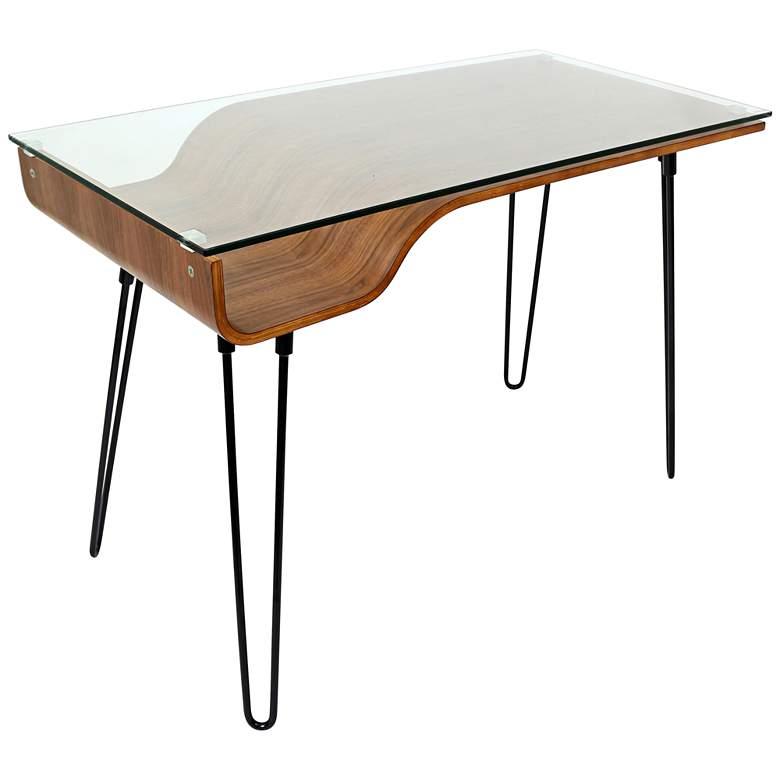 "Avery 44 1/2"" Wide Glass and Walnut Modern Writing Desk"