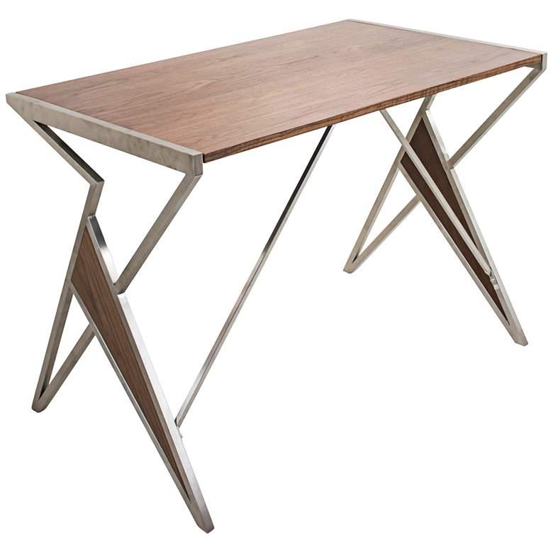 "Tetra 41 3/4"" Wide Walnut Modern Office Writing Desk"