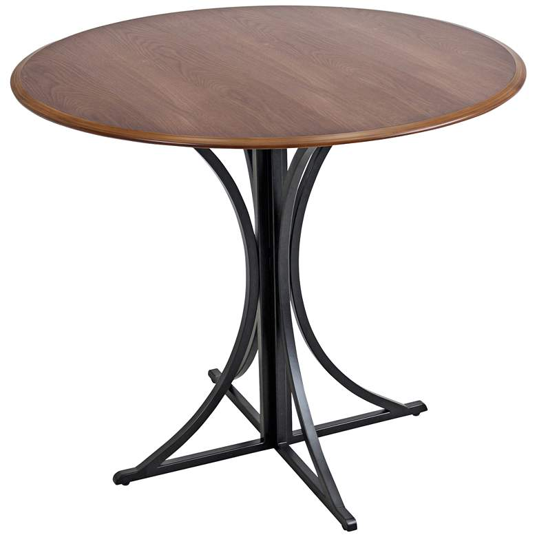 "Boro 35"" Wide Painted Black Small Round Walnut"