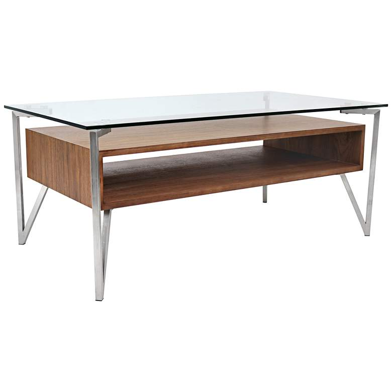 """Hover 47"""" Wide Walnut and Glass Modern Floating Coffee Table"""
