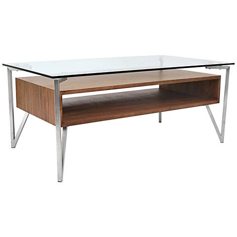 Hover Floating Walnut Tempered Glass Coffee Table