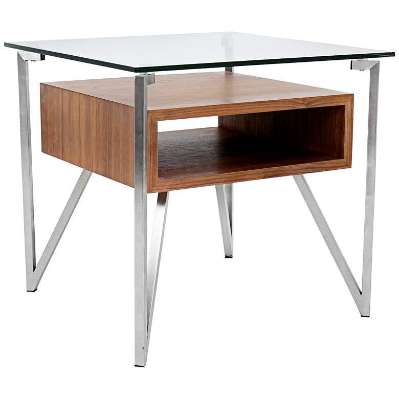 """Hover 23"""" Wide Walnut and Glass Modern Floating"""