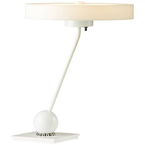 Hubbardton Forge Disq Frost Shade White Swivel LED Table Lamp