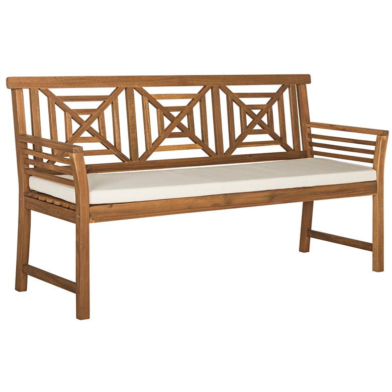 Verlaine Acacia Wood and Polyester 3-Seat Outdoor Bench