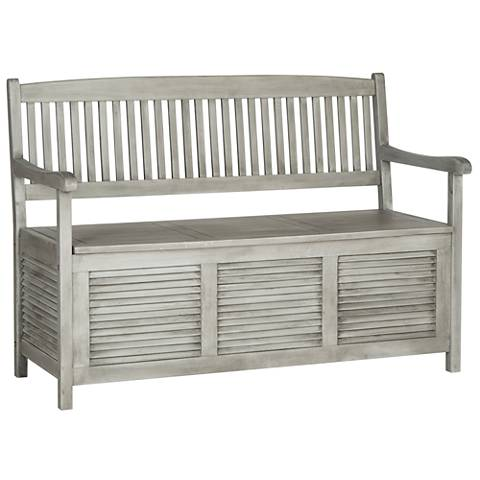 Westmore Gray Wood Outdoor Storage Bench
