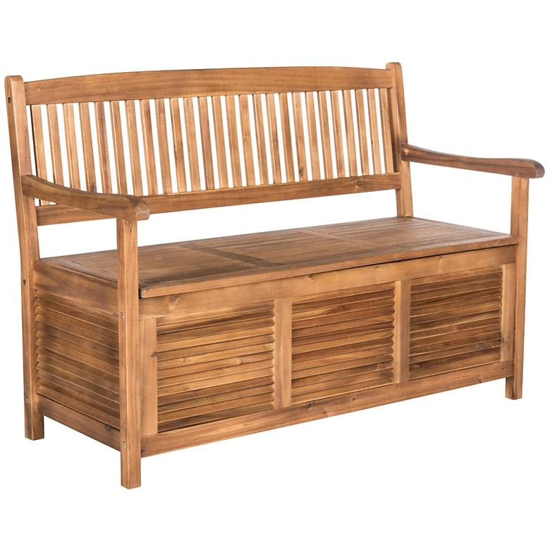 Westmore Teak Brown Wood Outdoor Storage Bench