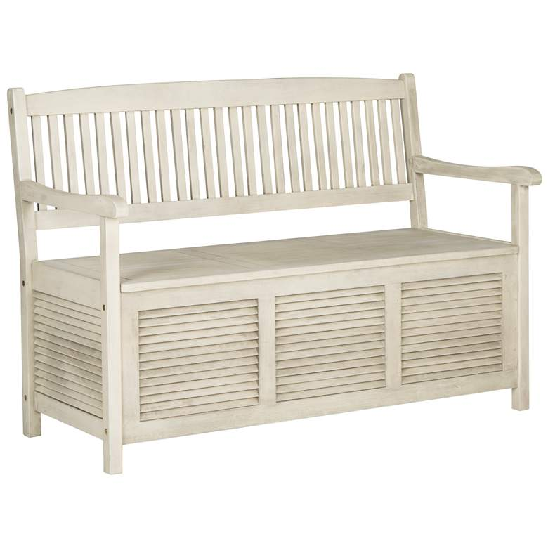 Westmore Distressed White Outdoor Storage Bench