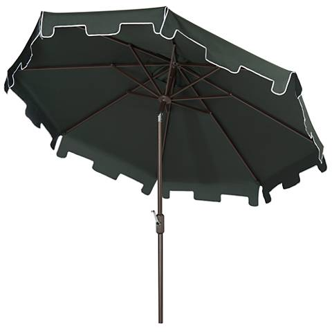 Zimmerman Dark Green 9' Aluminum Market Umbrella with Flap