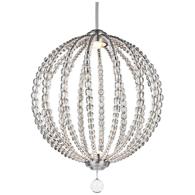 "Feiss Oberlin 20""W Satin Nickel 2-Light LED Orb Pendant"
