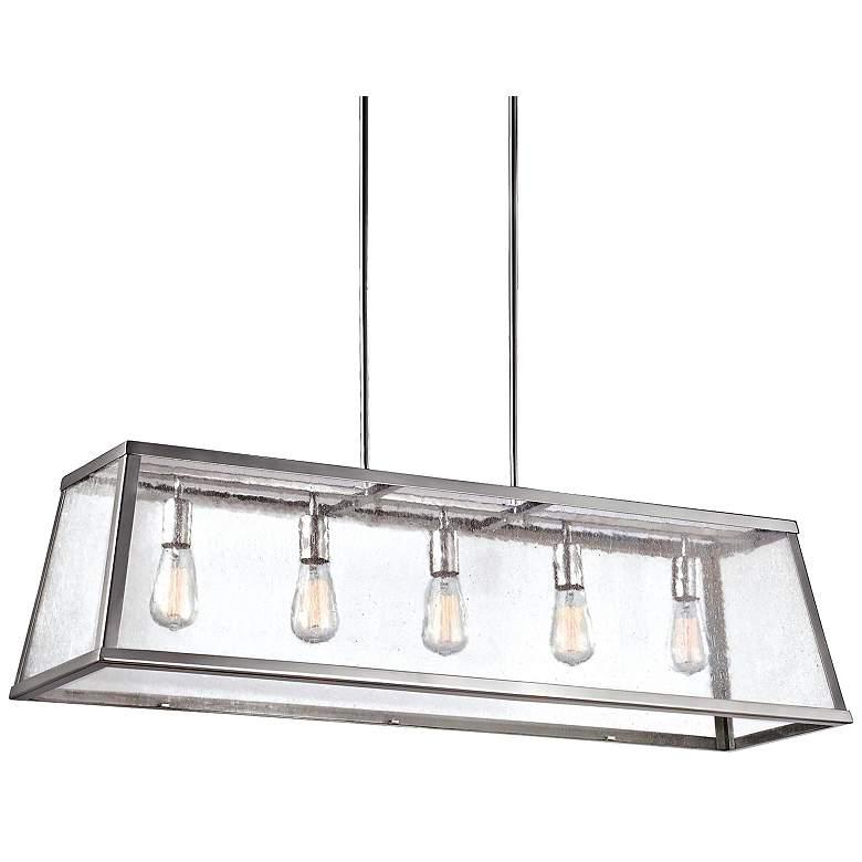 "Harrow 44"" Wide Polished Nickel Kitchen Island Light Pendant"