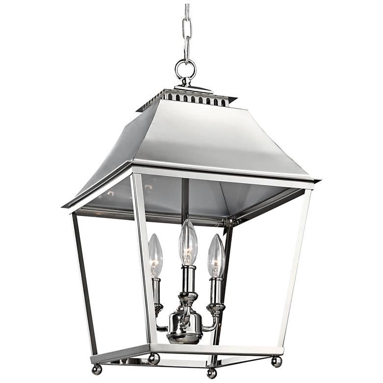 """Feiss Galloway 13"""" Wide Nickel 3-Light Indoor Pendant"""