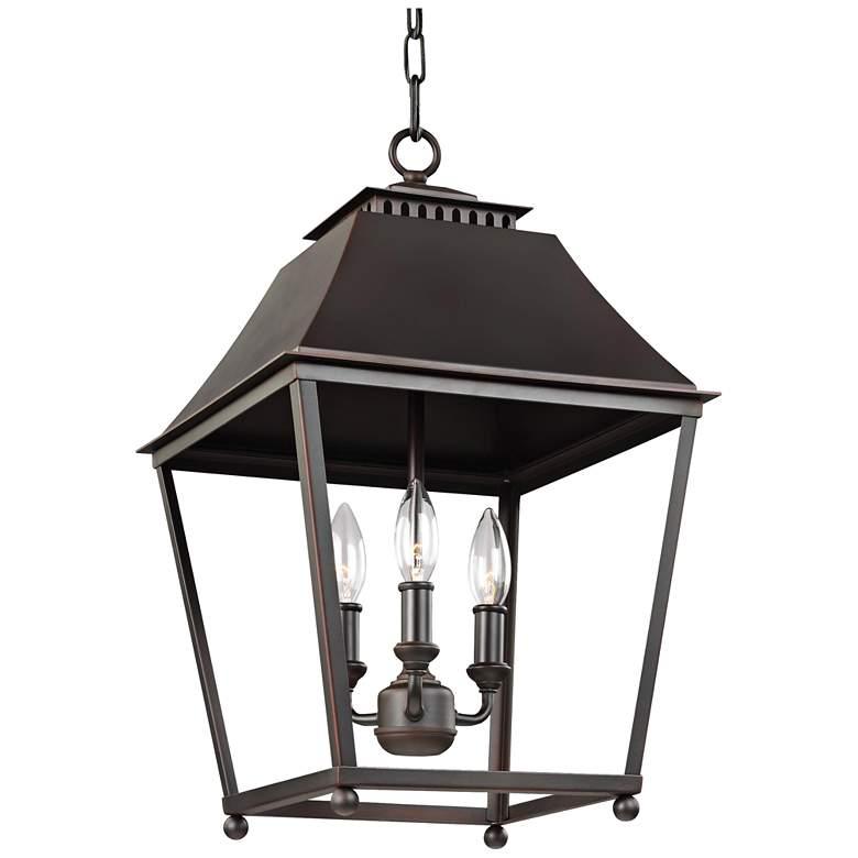 "Feiss Galloway 13"" Wide Dark Copper 3-Light Pendant Lantern"