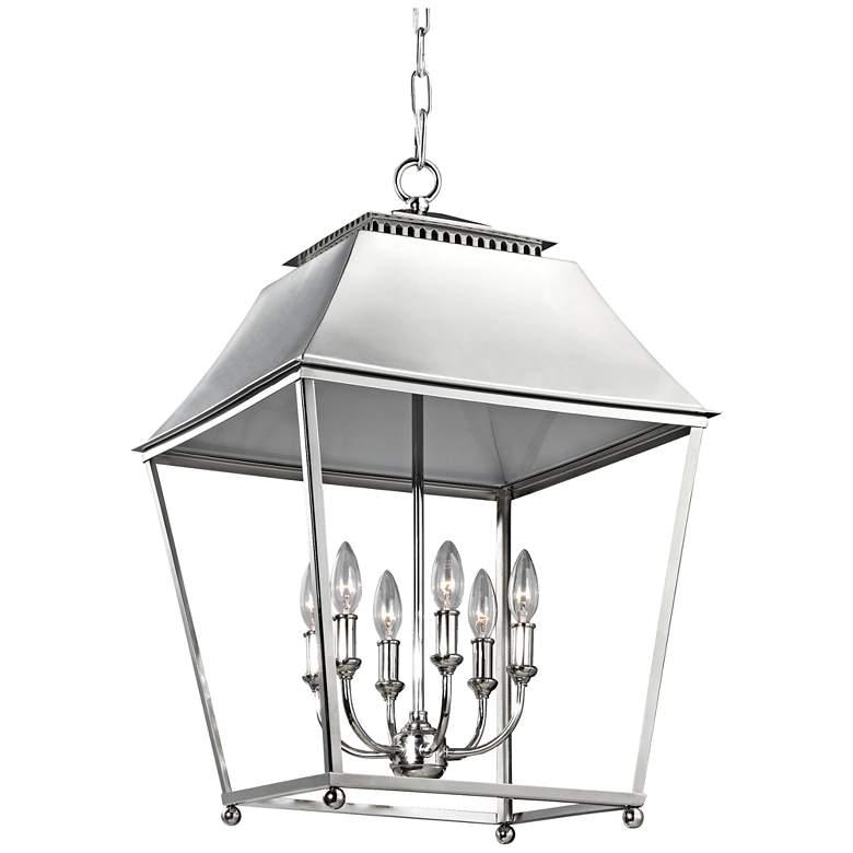 """Feiss Galloway 18 1/2"""" Wide Nickel 6-Light Indoor Pendant"""