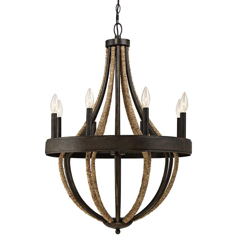 "Quoizel Pembroke Bronze 22 1/2""W Natural Rope Chandelier"