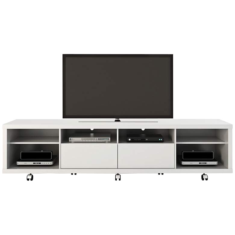 Cabrini 2.2 White Gloss Wood 2-Drawer TV Stand