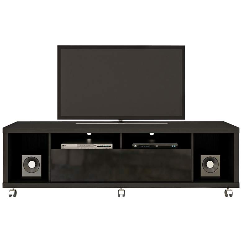 "Cabrini-1.8 71"" Wide Black Wood 2-Drawer TV Media Stand"