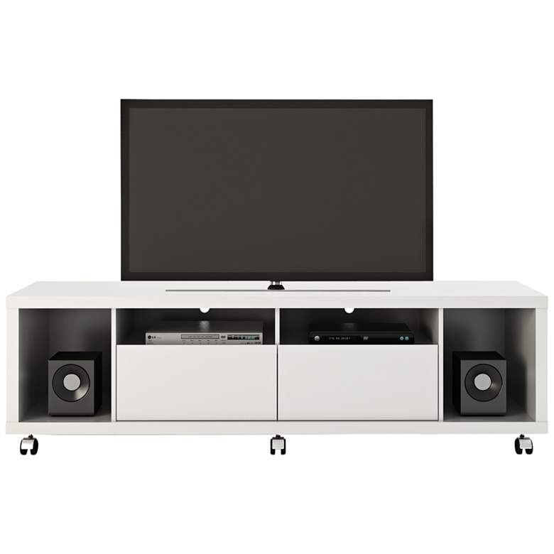 "Cabrini-1.8 71"" Wide White Gloss Modern Media TV"