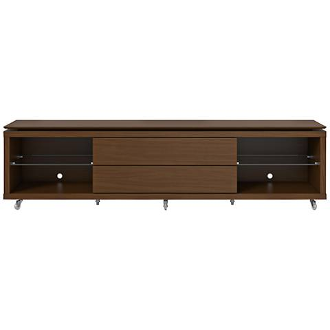 Lincoln 2.2 Nut Brown 2-Drawer TV Stand with Silicon Casters