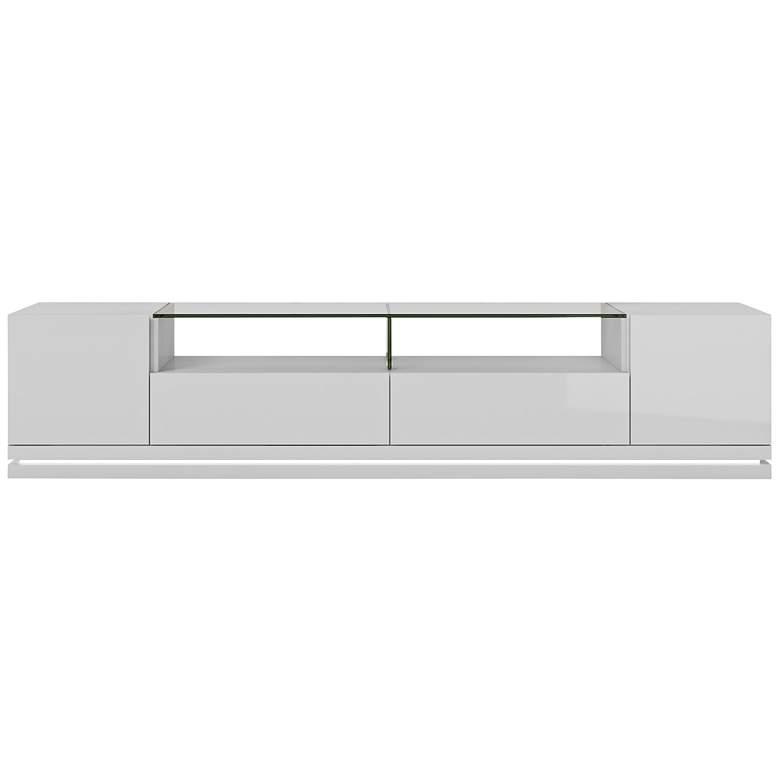 """Vanderbilt 85 3/4"""" Wide White Gloss 2-Door Low TV Stand"""