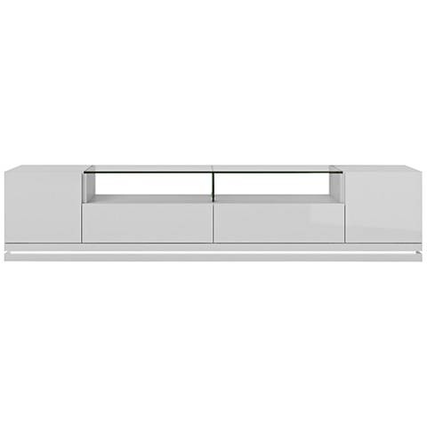 Vanderbilt White Gloss Wood 2-Door TV Stand with LED Lights