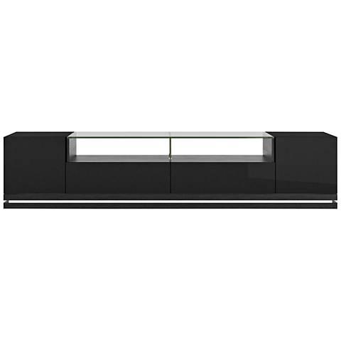 Vanderbilt Black Wood 2-Door TV Stand with LED Lights