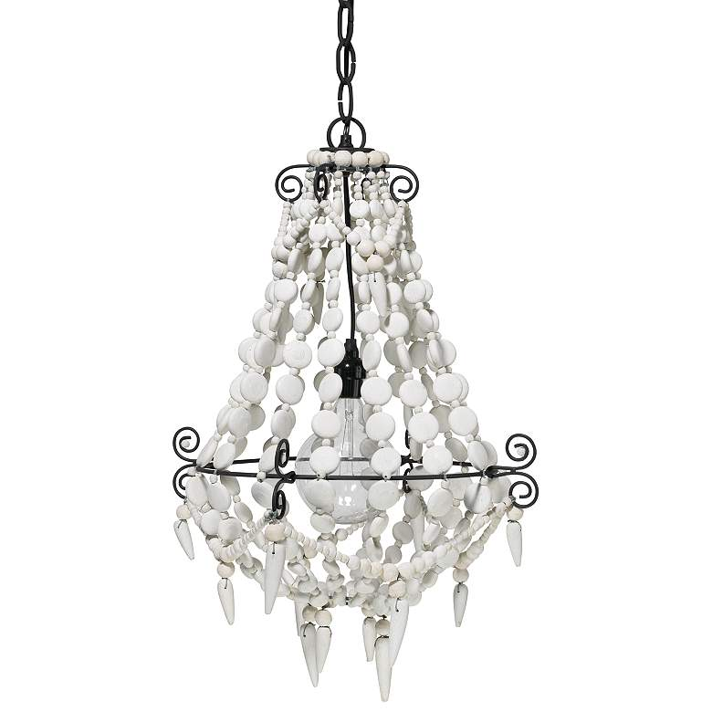 """Jamie Young Akumal 18"""" Wide White Beads Chandelier"""